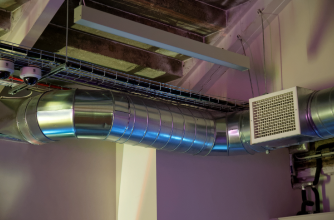 HVAC cleaning commercial spiral ductwork